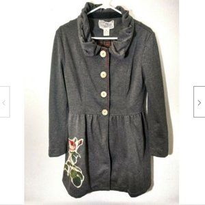 Nick & Mo Anthropologie Gray Button Coat Floral M
